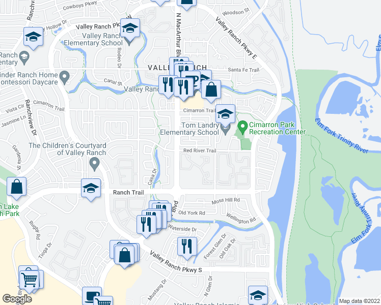 map of restaurants, bars, coffee shops, grocery stores, and more near 430 Red River Trail in Irving
