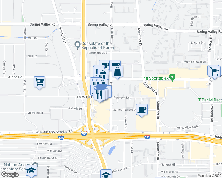 map of restaurants, bars, coffee shops, grocery stores, and more near 13420 Noel Rd in Dallas