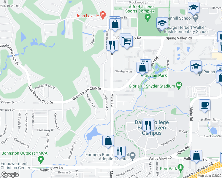 map of restaurants, bars, coffee shops, grocery stores, and more near 3850 Brookhaven Club Dr in Addison