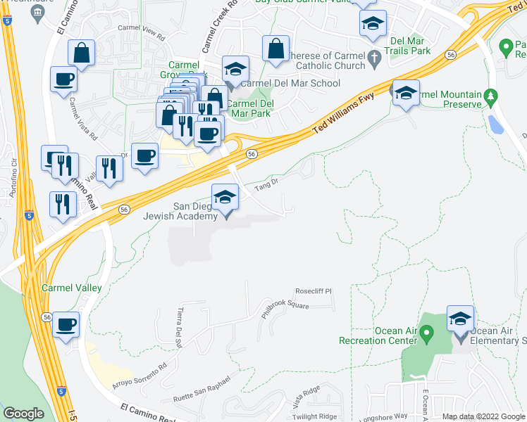map of restaurants, bars, coffee shops, grocery stores, and more near 11698 Carmel Creek Road in San Diego