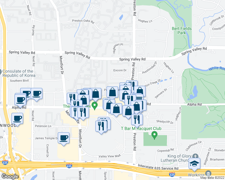 map of restaurants, bars, coffee shops, grocery stores, and more near 14 Preston View Boulevard in Dallas