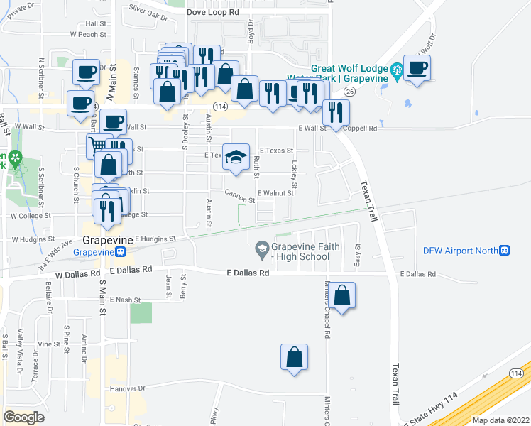 map of restaurants, bars, coffee shops, grocery stores, and more near 844 E Walnut St in Grapevine