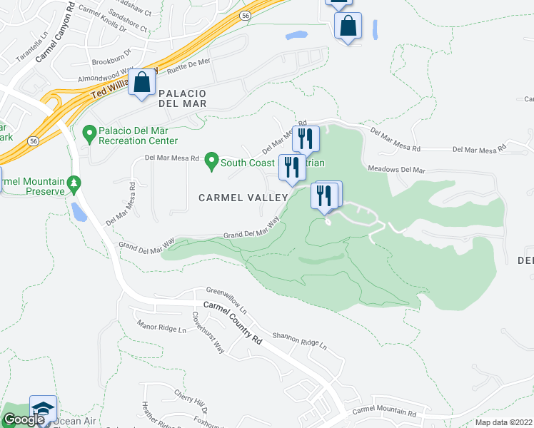map of restaurants, bars, coffee shops, grocery stores, and more near 5113 Meadows Del Mar in San Diego
