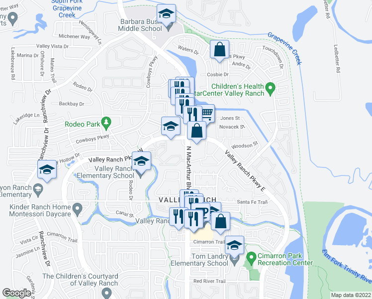 map of restaurants, bars, coffee shops, grocery stores, and more near 9975 North MacArthur Boulevard in Irving