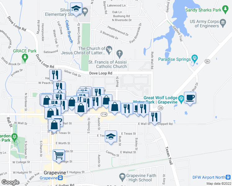 map of restaurants, bars, coffee shops, grocery stores, and more near 100-498 Boyd Dr in Grapevine