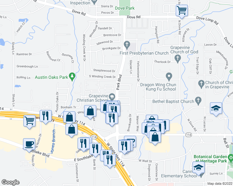 map of restaurants, bars, coffee shops, grocery stores, and more near 535-587 North Park Boulevard in Grapevine