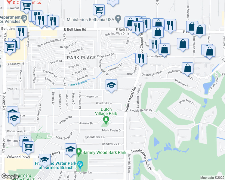map of restaurants, bars, coffee shops, grocery stores, and more near 3050 Fyke Road in Farmers Branch