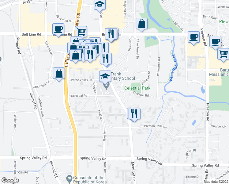 map of restaurants, bars, coffee shops, grocery stores, and more near in Addison