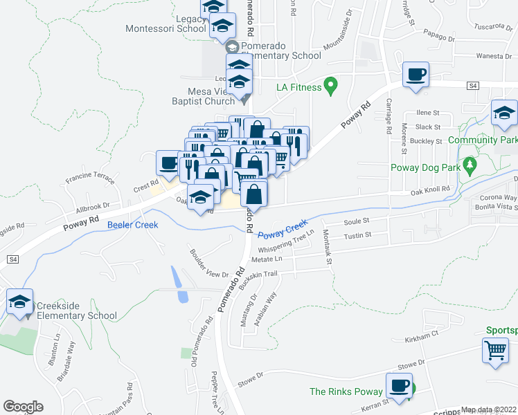 map of restaurants, bars, coffee shops, grocery stores, and more near 12430 Oak Knoll Road in Poway