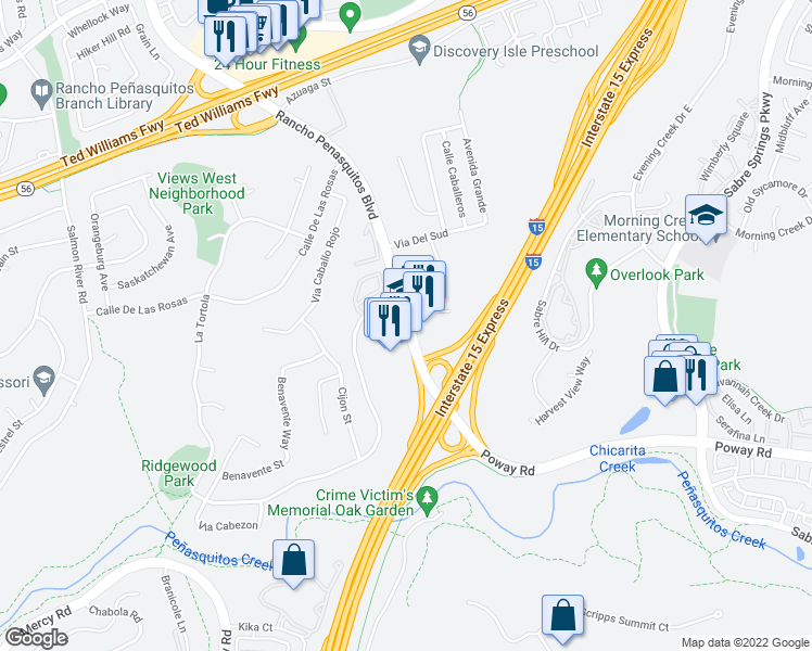 map of restaurants, bars, coffee shops, grocery stores, and more near 12860 Rancho Penasquitos Boulevard in San Diego