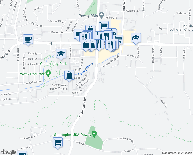 map of restaurants, bars, coffee shops, grocery stores, and more near 12979 Community Rd in Poway