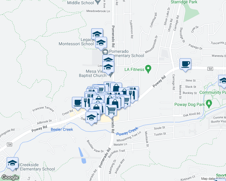 map of restaurants, bars, coffee shops, grocery stores, and more near 12376 Poway Road in Poway