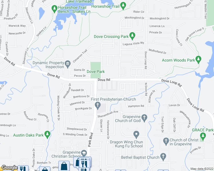 map of restaurants, bars, coffee shops, grocery stores, and more near 1834 Everglade Court in Grapevine