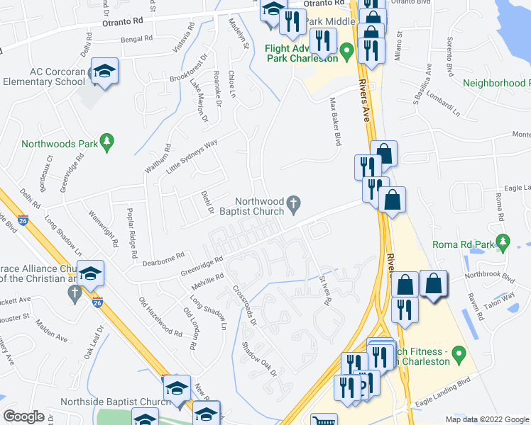 map of restaurants, bars, coffee shops, grocery stores, and more near 8150 Prestwick Ct in North Charleston