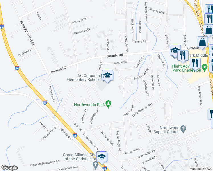 map of restaurants, bars, coffee shops, grocery stores, and more near 8498 Greenridge Road in North Charleston