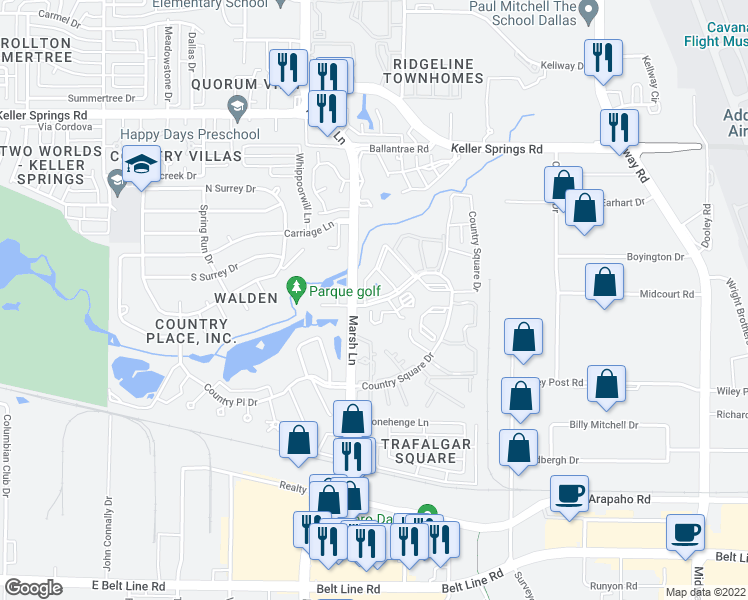 map of restaurants, bars, coffee shops, grocery stores, and more near 3560 Country Square Drive in Carrollton