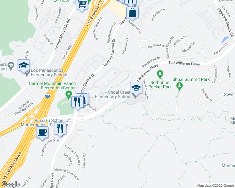 map of restaurants, bars, coffee shops, grocery stores, and more near Ted Williams Pkwy in San Diego