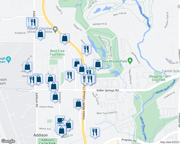 map of restaurants, bars, coffee shops, grocery stores, and more near 15935 Knoll Trail Dr in Dallas