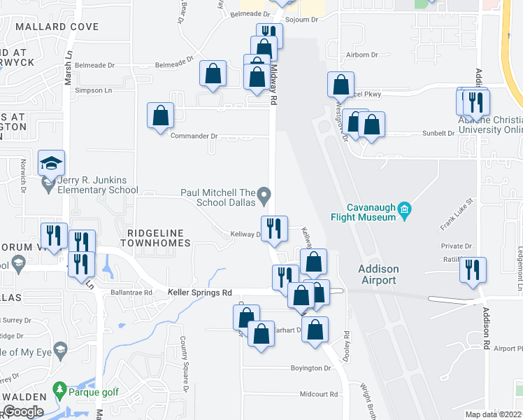 map of restaurants, bars, coffee shops, grocery stores, and more near 2389 Midway Road in Carrollton