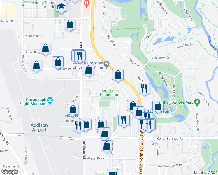 map of restaurants, bars, coffee shops, grocery stores, and more near Westgrove Dr & Ledgemont Ln in Addison