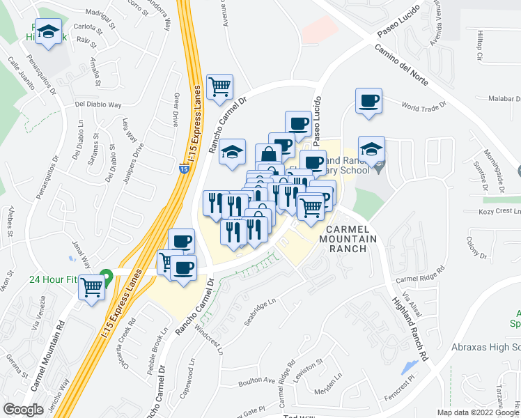 map of restaurants, bars, coffee shops, grocery stores, and more near 11860 Carmel Mountain Road in San Diego