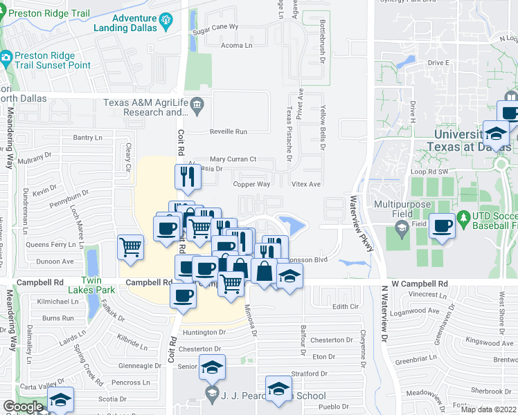 map of restaurants, bars, coffee shops, grocery stores, and more near Lake Park Way in Richardson