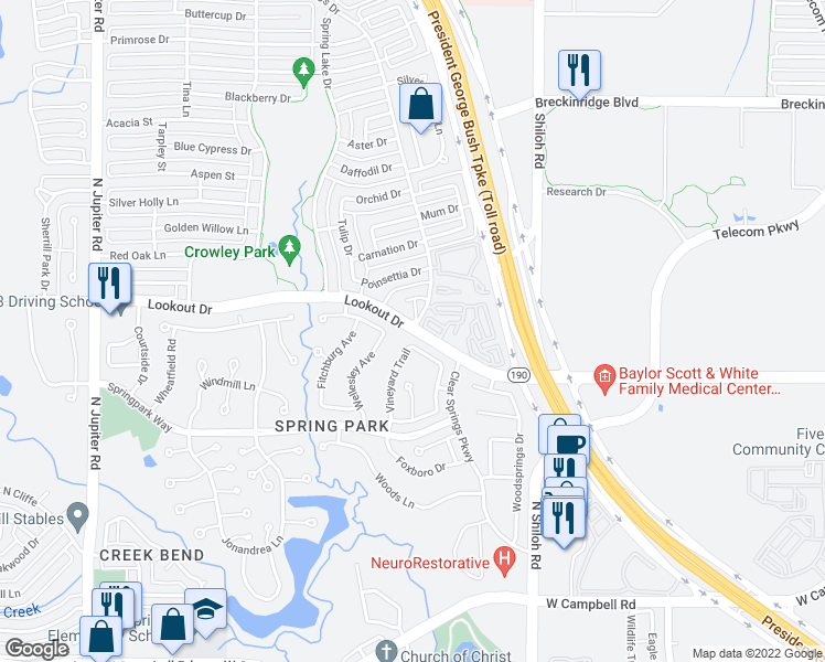 map of restaurants, bars, coffee shops, grocery stores, and more near Lookout Dr & Clear Springs Dr in Richardson