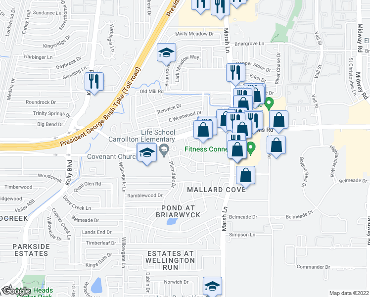 map of restaurants, bars, coffee shops, grocery stores, and more near 2700-2756 Oak Tree Drive in Carrollton