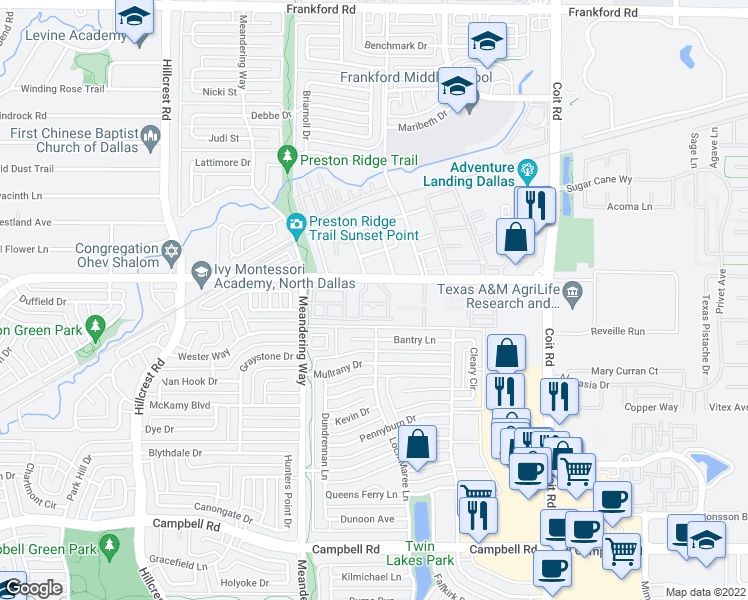 map of restaurants, bars, coffee shops, grocery stores, and more near 7650 McCallum Blvd in Dallas