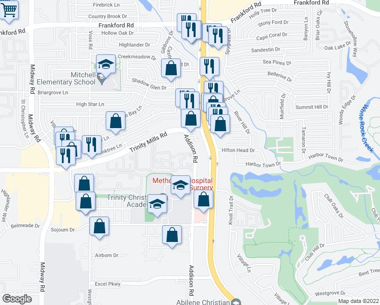 map of restaurants, bars, coffee shops, grocery stores, and more near 17671 Addison Rd in Dallas