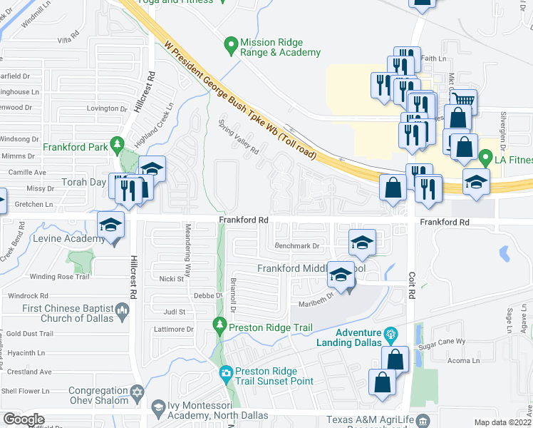 map of restaurants, bars, coffee shops, grocery stores, and more near 7335 Frankford Rd in Dallas