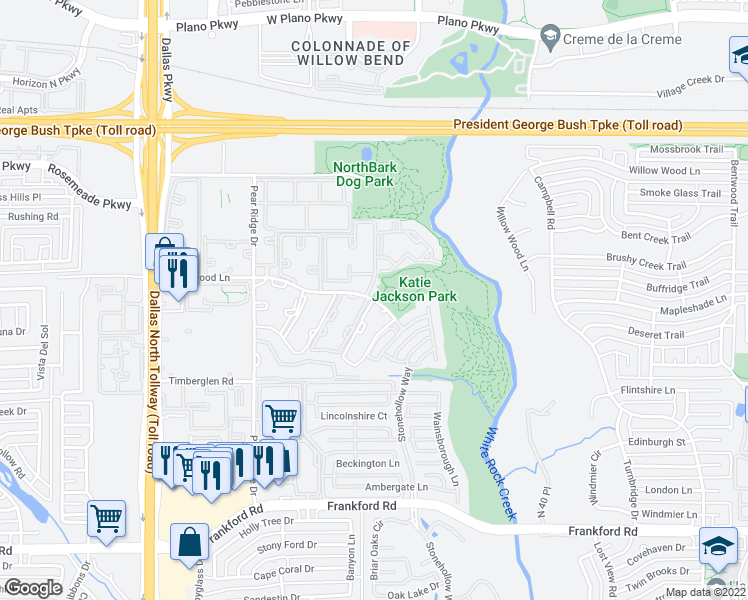 map of restaurants, bars, coffee shops, grocery stores, and more near 5050-5078 Haverwood Lane in Dallas