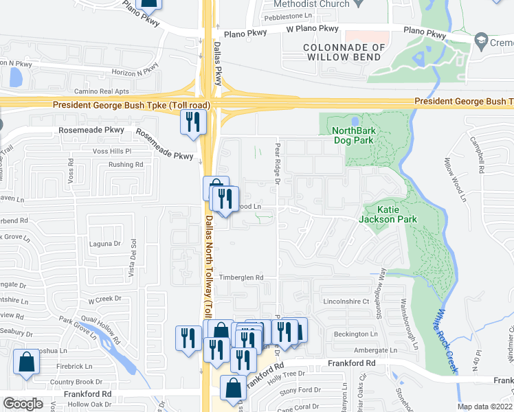 map of restaurants, bars, coffee shops, grocery stores, and more near 4701 Haverwood Lane in Dallas