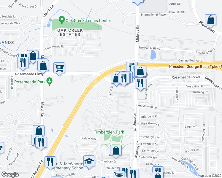 map of restaurants, bars, coffee shops, grocery stores, and more near 3800-3866 Rosemeade Pkwy in Dallas