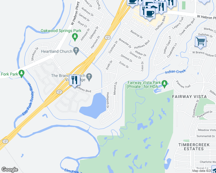 map of restaurants, bars, coffee shops, grocery stores, and more near 1444 Hudspeth Dr in Carrollton