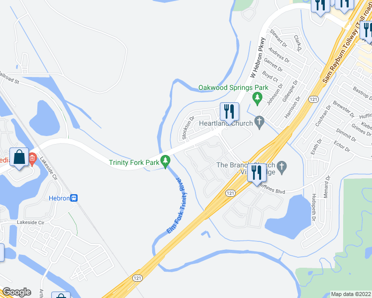 map of restaurants, bars, coffee shops, grocery stores, and more near 2057 W Hebron Pkwy in Carrollton