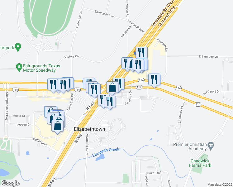 map of restaurants, bars, coffee shops, grocery stores, and more near 8121 Gasoline Alley Drive in Roanoke