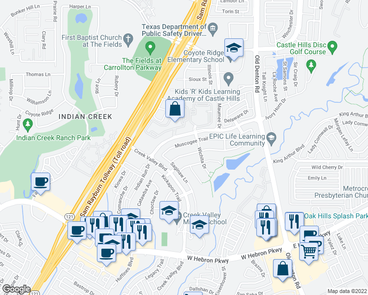 map of restaurants, bars, coffee shops, grocery stores, and more near 1217 Muscogee Trail in Carrollton