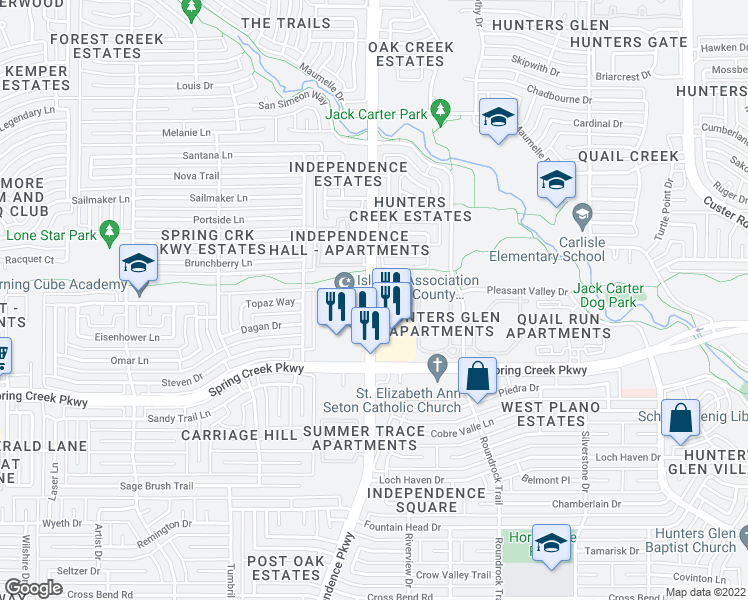 map of restaurants, bars, coffee shops, grocery stores, and more near 6400 Independence Parkway in Plano