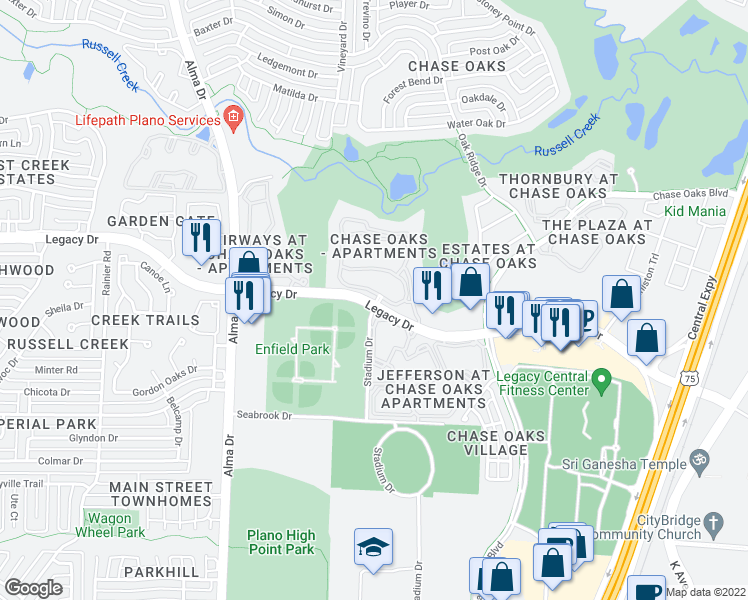 map of restaurants, bars, coffee shops, grocery stores, and more near Stadium Dr in Plano