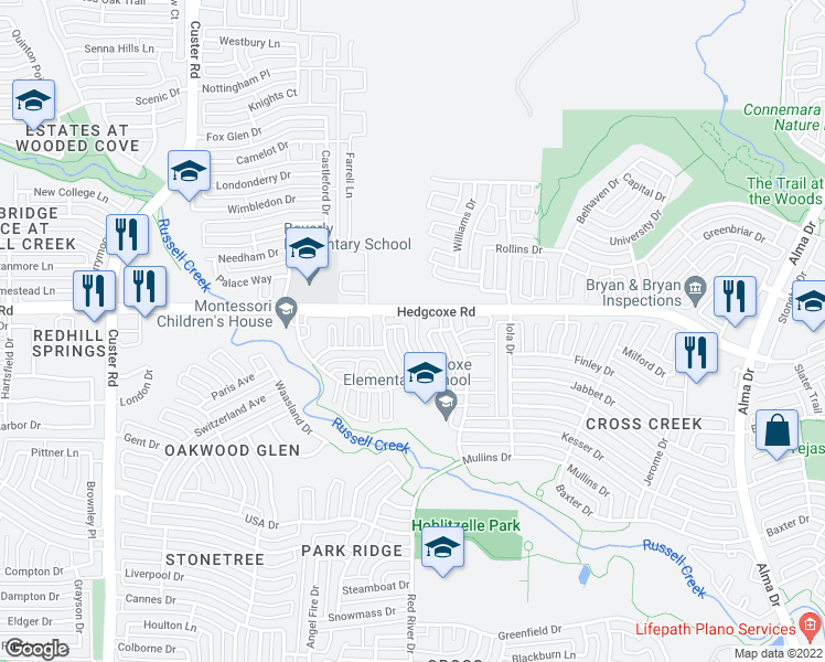 map of restaurants, bars, coffee shops, grocery stores, and more near 7929 Steppington Dr in Plano