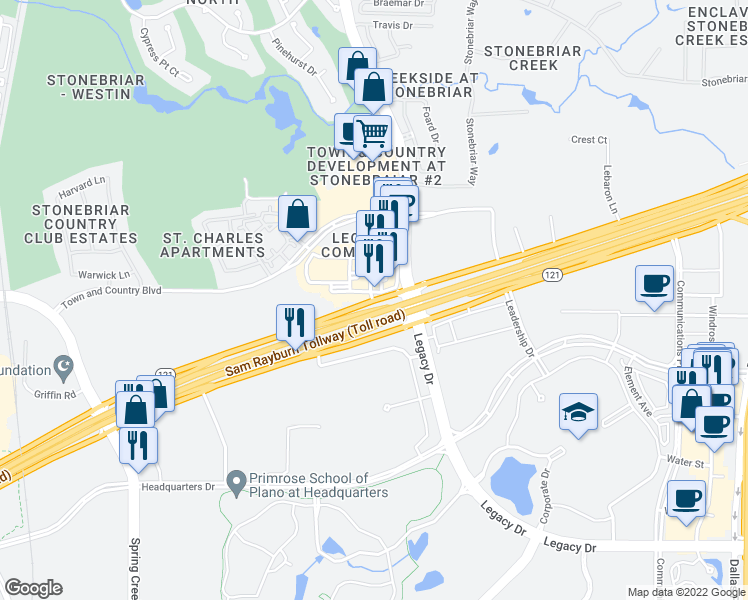 map of restaurants, bars, coffee shops, grocery stores, and more near 5500 Highway 121 in Frisco