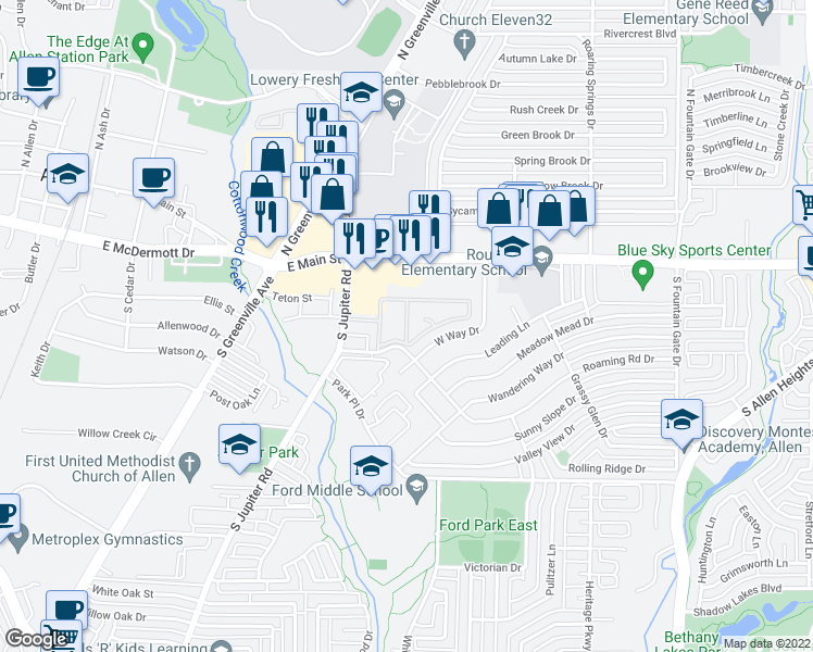 map of restaurants, bars, coffee shops, grocery stores, and more near Roaming Road Drive in Allen