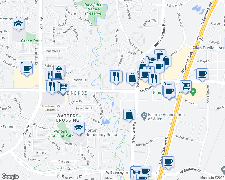 map of restaurants, bars, coffee shops, grocery stores, and more near 1021 West McDermott Drive in Allen