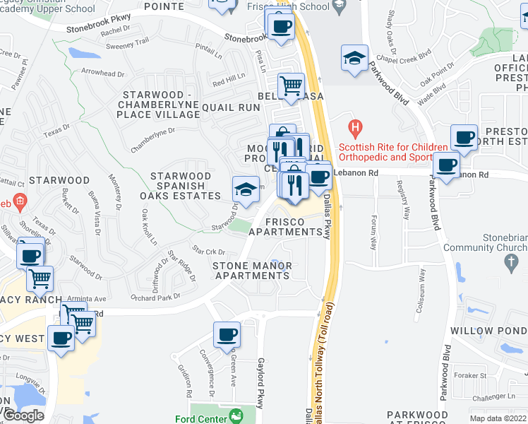 map of restaurants, bars, coffee shops, grocery stores, and more near 6805 Lebanon Road in Frisco