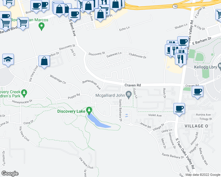 map of restaurants, bars, coffee shops, grocery stores, and more near 534 Whitesage Road in San Marcos