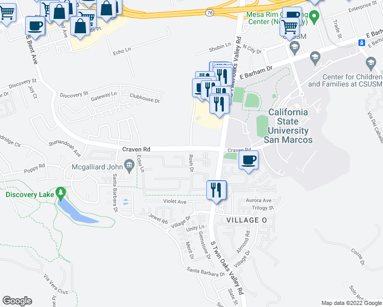 map of restaurants, bars, coffee shops, grocery stores, and more near 196 Craven Road in San Marcos