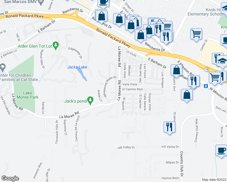 map of restaurants, bars, coffee shops, grocery stores, and more near 1192 Gazania Court in San Marcos