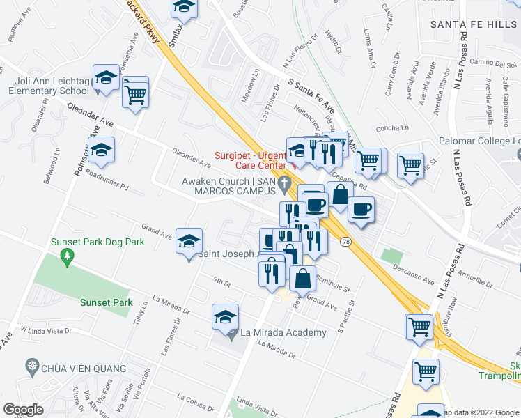 map of restaurants, bars, coffee shops, grocery stores, and more near 3496-3578 Descanso Avenue in San Marcos