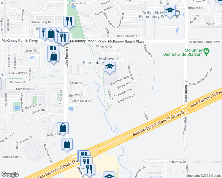 map of restaurants, bars, coffee shops, grocery stores, and more near 4717 Brighton Drive in McKinney
